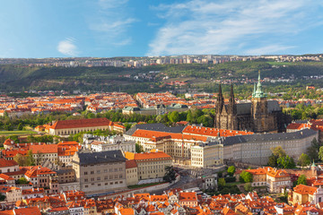 Prague architectural view, Czech Republic. Prague Castle and Saint Vitus Cathedral panoramic view