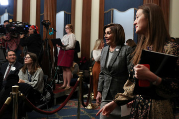 U.S. House Speaker Nancy Pelosi (D-CA) arrives at a news conference on Capitol Hill in Washington