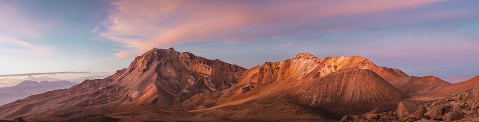 Panoramic Mountain landscape with orange sunset