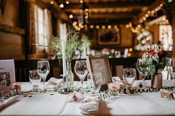 table arrangements at a wedding location
