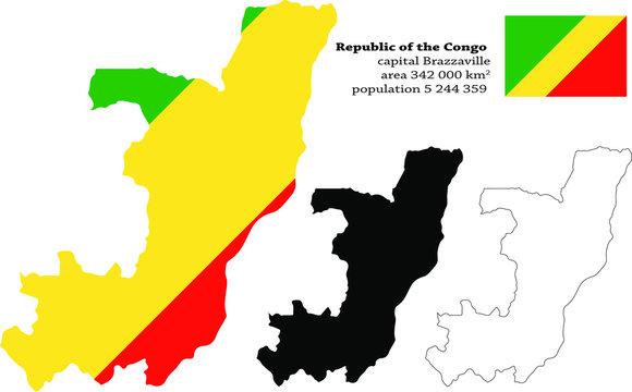 Republic of the Congo Congo-Brazzaville, the Congo Republic, RotC   vector map, flag, borders, mask , capital, area and population infographic