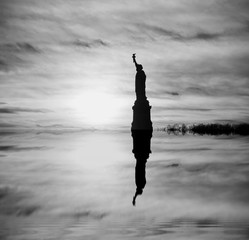 The beginning of the end, climate change does not exist, phrase of D.Trump, climate change, Artistic black and white photograph of the Famous places in New York, flooded by the rising sea,