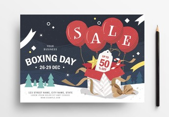 Boxing Day Sale Flyer Layout with Winter Holiday Theme