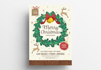 Christmas Flyer Layout with Elegant Wreath