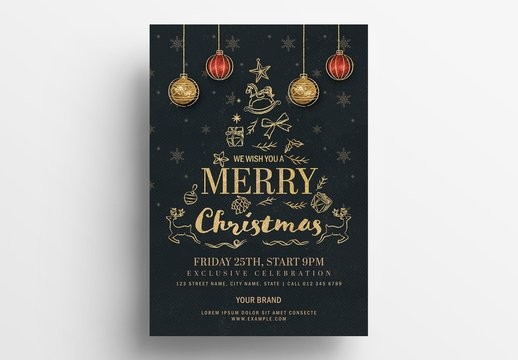 Christmas Flyer Layout with Black and Gold Detailing