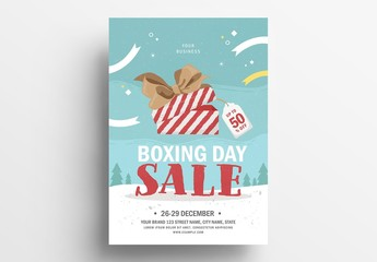 Holiday Sale Flyer Layout with Christmas Theme