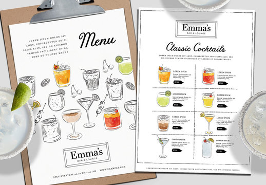 Cocktail Menu with Watercolor Illustrations