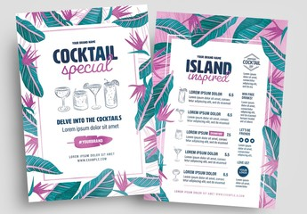 Tropical Cocktail Menu Layout