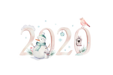 Watercolor Merry Christmas illustration with snowman, holiday cute animals deer, rabbit. 2020 Christmas celebration cards. Winter new year design.