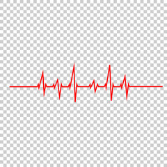 vector illustration heart beat rhythm on a white background