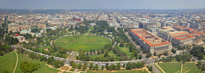 Washington DC city, White House and the Ellipse north panorama aerial view from the top of Washington Monument, Washington, District of Columbia DC, USA.