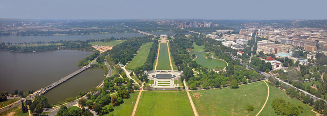 Washington DC city, Lincoln Memorial and World War II Memorial west panorama aerial view from the top of Washington Monument, Washington, District of Columbia DC, USA.