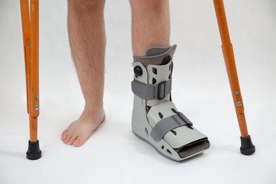 broken leg in orthopedic boot