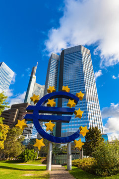 Euro Sign in front of ECB Headquarter