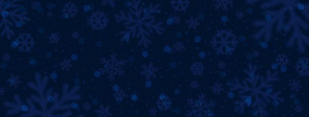 Wall Mural - Dark blue christmas banner with blurred snowflakes. Merry Christmas and Happy New Year greeting banner. Horizontal new year background, headers, posters, cards, website. Vector illustration
