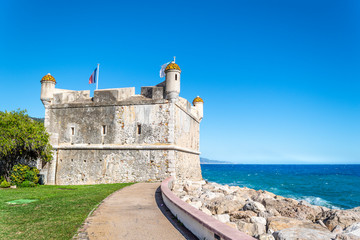 The medieval seaside castle now converted to the Jean Cocteau Bastion museum on the French Riviera in Menton, France.