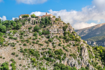 The picturesque medieval hilltop village of Gourdon, France, high on a mountain in the Alps Maritime commune in the Provence region of Southern France