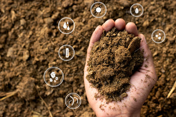 Dung or manure with technology, icons about decomposition become soil around.