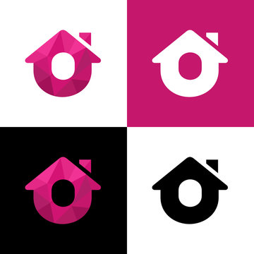 Letter O home logo design, abstract house low poly icon - Vector