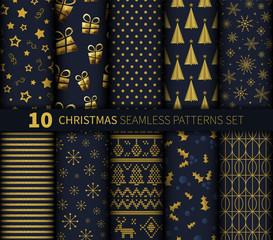 Christmas seamless pattern background vector set golden dark blue abstract