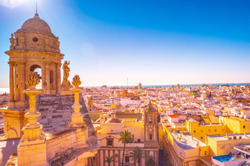 Aerial view of the roofs of Cadiz, Spain, from the belfry of its Cathedral.