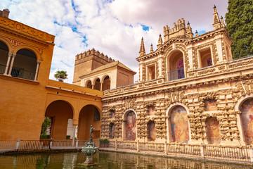 Garden and Gallery of Grutescos in Alcazar of Seville, Spain