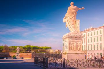 The statue of Grand Duke Ferdinand III on Piazza della Republica in Livorno, Italy.