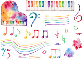 Watercolor musical set rainbow piano, colorful notestreble and bass clef; hand draw illustration; with white isolated background