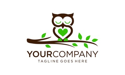 Tuinposter Uilen cartoon Creative owl for logo design concept