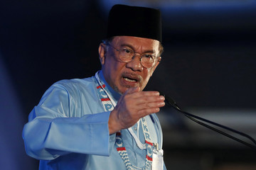 President of the People's Justice Party Anwar Ibrahim gives the keynote address during their general assembly in Melaka