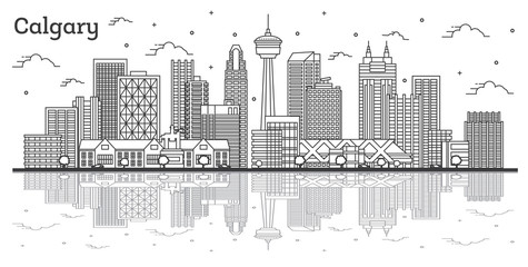 Fototapete - Outline Calgary Canada City Skyline with Modern Buildings and Reflections Isolated on White.