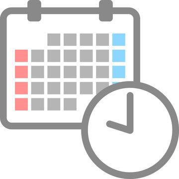 カレンダーと時計のアイコン
