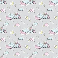 Seamless pattern with cute sleeping unicorn. Texture background wild fairy animals