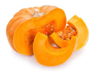 Fototapete - Fresh pumpkin on white background