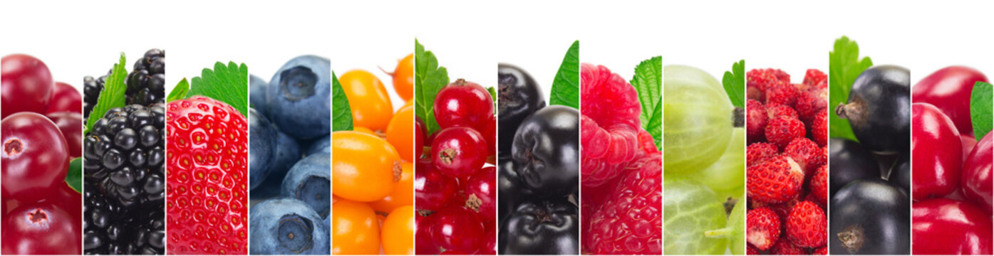 Collage of fresh berries on white background