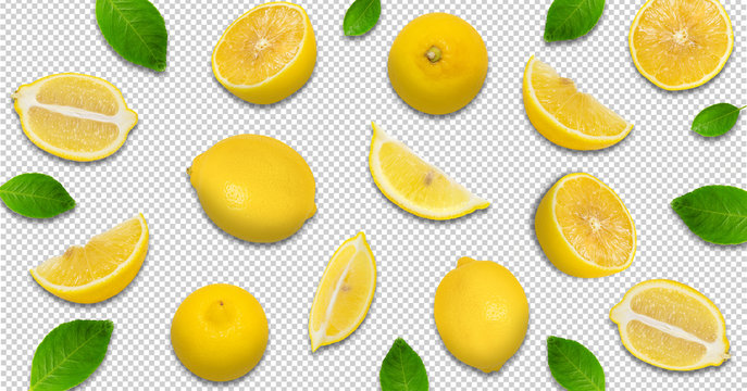 Minimal pastel style creative layout made of lemon and leaves , half of lemon , slide, piece. flat lay. Fruit concept.isolated with clipping path on transparent background