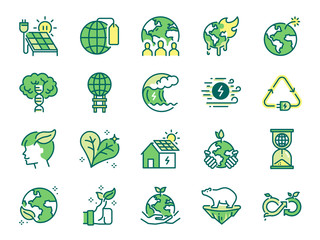 Ecology icon set. Included icons as eco product, clean energy, renewable power, recycle, reusable, go green and more.