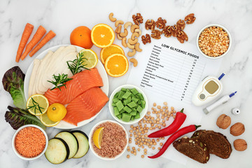 Low glycemic food for diabetics with blood sugar testing device & lance. Foods below 50 on the GI index as per list & high in vitamins, protein, antioxidants, smart carbs & omega 3 fatty acids.