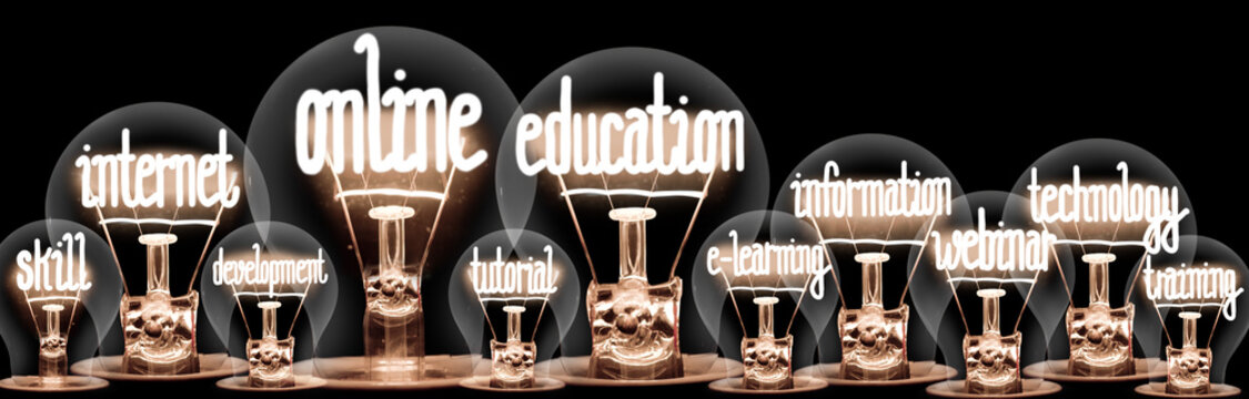 Light Bulbs with Online Education Concept