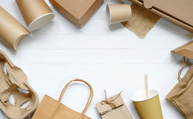 Food paper packaging from environmentally friendly materials on white table