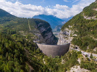 Aerial view of Vajont Dam in Italy