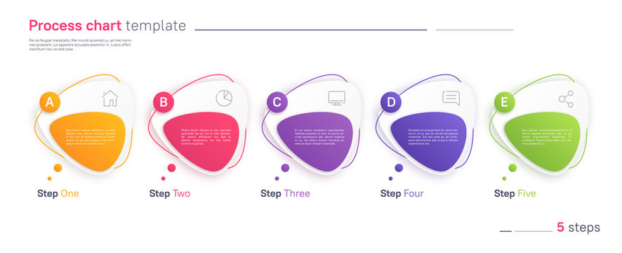 Vector process chart infographic template in the form of horizontal row composed of triangular rounded shapes. Five steps
