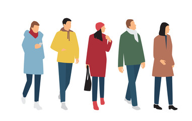 Silhouettes of men and women in outerwear of different colors, cartoon character, group of standing and walking business people, flat icon design concept isolated on white background