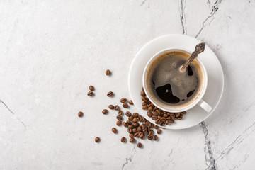 Printed kitchen splashbacks Cafe Morning black coffee in white cup