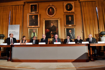 Nobel laureates attend a news conference at The Royal Swedish Academy of Sciences in Stockholm