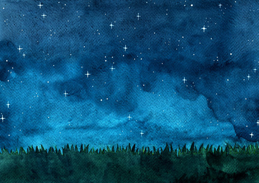 Grass meadow with night sky watercolor hand painting background.