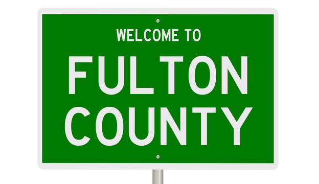 Rendering of a 3d green highway sign for Fulton County