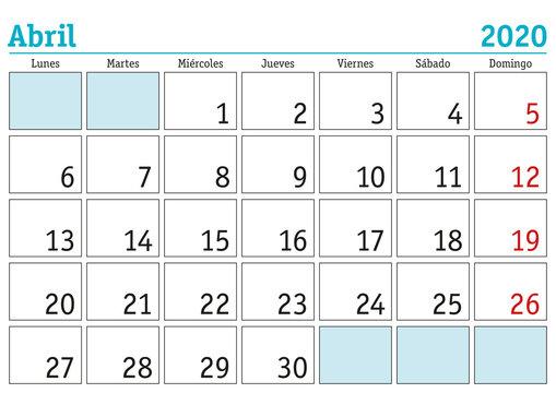 Abril 2020 wall calendar spanish