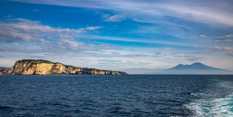 Campi Flegrei, Naples, Campania, Italy: Protected Marine Area of the Underwater Park of Gaiola in the Gulf of Naples and Vesuvius volcano in the bachground.