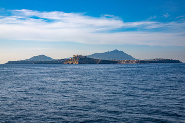 Campi Flegrei, Naples, Campania, Italy: The islands of Procida in the foreground and Ischia in the backgroundPhlegraean Islands. The Phlegraean Islands, archipelago in the Gulf of Naples
